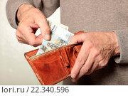 Купить «Кошелек и деньги в руках», эксклюзивное фото № 22340596, снято 24 марта 2016 г. (c) Яна Королёва / Фотобанк Лори