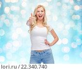 Купить «happy young woman or teenage girl in white t-shirt», фото № 22340740, снято 13 февраля 2016 г. (c) Syda Productions / Фотобанк Лори
