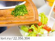 Купить «close up of chopped onion and vegetable salad», фото № 22356304, снято 26 апреля 2015 г. (c) Syda Productions / Фотобанк Лори