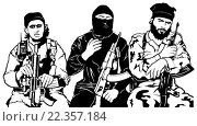 Купить «Terrorists - Armed Group - Black and White Illustration, Vector», иллюстрация № 22357184 (c) PantherMedia / Фотобанк Лори