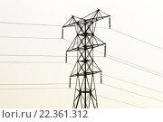 Опора ЛЭП в контровом свете заходящего солнца, эксклюзивное фото № 22361312, снято 11 марта 2016 г. (c) Константин Косов / Фотобанк Лори