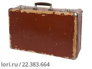 Купить «Старый коричневый фибровый чемодан, изолированный на белом фоне», фото № 22383664, снято 27 марта 2016 г. (c) Георгий Марков / Фотобанк Лори