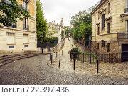 Купить «Rue de l'Abreuvoir, Монмартр, Париж, Франция», фото № 22397436, снято 20 августа 2015 г. (c) Илья Бесхлебный / Фотобанк Лори