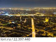 Купить «Вид на ночной Париж с башни Монпарнас», фото № 22397440, снято 20 августа 2015 г. (c) Илья Бесхлебный / Фотобанк Лори