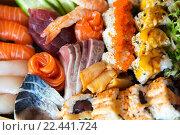 Купить «sushi set at restaurant», фото № 22441724, снято 13 февраля 2016 г. (c) Syda Productions / Фотобанк Лори