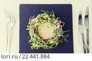 Купить «close up of poultry salad with sauce at restaurant», фото № 22441884, снято 30 апреля 2015 г. (c) Syda Productions / Фотобанк Лори