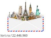 illustration of an envelope full of famous monument. Стоковое фото, фотограф sebastien decoret / PantherMedia / Фотобанк Лори