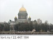 Купить «Река Нева в туманный день. Санкт-Петербург», эксклюзивное фото № 22447184, снято 1 апреля 2016 г. (c) Александр Алексеев / Фотобанк Лори