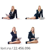 Купить «Businesswoman with laptop isolated on white background», фото № 22456096, снято 11 сентября 2012 г. (c) Elnur / Фотобанк Лори