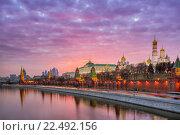Купить «Красный закат над Московским кремлем», фото № 22492156, снято 28 марта 2016 г. (c) Соболев Игорь / Фотобанк Лори