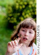 Купить «Маленькая девочка смотрит на бабочку Aglais urticae», фото № 22504816, снято 9 июля 2011 г. (c) Кузнецов Дмитрий / Фотобанк Лори