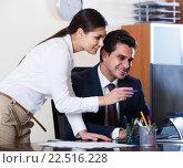 Manager and assistant brainstorming in office, фото № 22516228, снято 24 марта 2017 г. (c) Яков Филимонов / Фотобанк Лори
