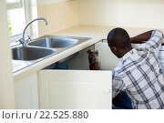 Купить «Man repairing a kitchen sink», фото № 22525880, снято 19 января 2016 г. (c) Wavebreak Media / Фотобанк Лори