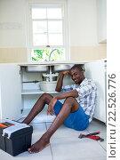 Купить «Portrait of man repairing a kitchen sink», фото № 22526776, снято 19 января 2016 г. (c) Wavebreak Media / Фотобанк Лори