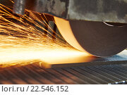Купить «metalworking industry. finishing metal surface on horizontal grinder machine», фото № 22546152, снято 1 марта 2016 г. (c) Дмитрий Калиновский / Фотобанк Лори