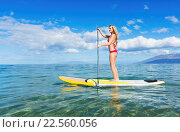 Купить «Attractive Woman on Stand Up Paddle Board, SUP, Tropical Blue Ocean, Hawaii», фото № 22560056, снято 22 января 2019 г. (c) easy Fotostock / Фотобанк Лори