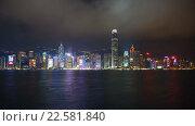 Купить «Вид на Гонконг ночью. Таймлапс», видеоролик № 22581840, снято 9 апреля 2016 г. (c) Михаил Коханчиков / Фотобанк Лори