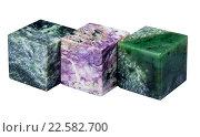 Купить «Кубы из минералов нефрит, чароит и серпентинит на белом фоне», фото № 22582700, снято 10 марта 2019 г. (c) Анна Зеленская / Фотобанк Лори