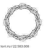 Декоративная круглая рамка из переплетающихся линий с пузырьками. Стоковая иллюстрация, иллюстратор Шильникова Дарья / Фотобанк Лори