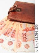 Купить «Купюры 5000 рублей и кошелек», эксклюзивное фото № 22598236, снято 15 апреля 2016 г. (c) Яна Королёва / Фотобанк Лори