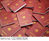 Купить «Germany passport background. Immigration or travel concept. Pile», фото № 22600024, снято 17 июня 2019 г. (c) Maksym Yemelyanov / Фотобанк Лори