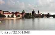 Купить «Набережная Влтавы в Праге, Чехия», видеоролик № 22601948, снято 29 марта 2009 г. (c) Куликов Константин / Фотобанк Лори
