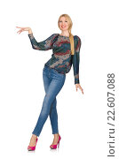 Купить «Tall blond hair model posing in blue jeans isolated on white», фото № 22607088, снято 22 сентября 2014 г. (c) Elnur / Фотобанк Лори
