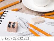 Купить «Карандашный рисунок птичьего пера и карандаши», фото № 22632232, снято 2 декабря 2015 г. (c) Людмила Дутко / Фотобанк Лори