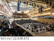 Купить «Audience and orchestra at concert Romeo and Juliet by Prokofiev», фото № 22638672, снято 28 ноября 2015 г. (c) Яков Филимонов / Фотобанк Лори
