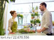 Купить «smiling florist woman and man at flower shop», фото № 22670556, снято 27 марта 2016 г. (c) Syda Productions / Фотобанк Лори