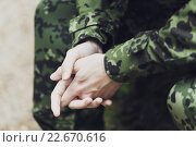 Купить «close up of young soldier in military uniform», фото № 22670616, снято 14 августа 2014 г. (c) Syda Productions / Фотобанк Лори