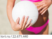 close up of woman with volleyball ball on beach. Стоковое фото, фотограф Syda Productions / Фотобанк Лори