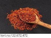 Купить «Crushed red chili pepper», фото № 22672472, снято 23 октября 2019 г. (c) PantherMedia / Фотобанк Лори