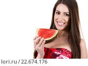 Купить «brunette holding a watermelon», фото № 22674176, снято 21 августа 2018 г. (c) PantherMedia / Фотобанк Лори
