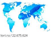 Купить «Plane over blue gradient world map, double exposure, isolated», фото № 22675624, снято 21 июня 2012 г. (c) Александр Подшивалов / Фотобанк Лори