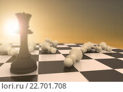 Купить «Composite image of black queen standing with fallen white pawns», фото № 22701708, снято 20 мая 2019 г. (c) Wavebreak Media / Фотобанк Лори