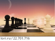Купить «Composite image of white and black pawns facing off with king and queen», фото № 22701716, снято 20 мая 2019 г. (c) Wavebreak Media / Фотобанк Лори