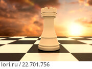 Купить «Composite image of white rook on chess board», фото № 22701756, снято 27 мая 2019 г. (c) Wavebreak Media / Фотобанк Лори