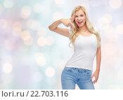 Купить «happy young woman or teenage girl in white t-shirt», фото № 22703116, снято 13 февраля 2016 г. (c) Syda Productions / Фотобанк Лори