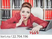 Купить «Уставшая женщина на работе», фото № 22704196, снято 26 января 2014 г. (c) Darkbird77 / Фотобанк Лори