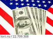 Американские доллары и флаги. Стоковое фото, фотограф Ольга Еремина / Фотобанк Лори