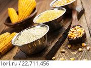 Купить «Мука, крупа, зерно и початки кукурузы на столе», фото № 22711456, снято 27 апреля 2016 г. (c) Надежда Мишкова / Фотобанк Лори