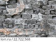 Купить «Фрагмент старой кирпичной стены серого цвета с отвалившейся штукатуркой», фото № 22722568, снято 23 октября 2018 г. (c) А. А. Пирагис / Фотобанк Лори