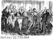 Купить «Johann caspar lavater, 1741-1801, johann wolfgang von goethe, 1749-1832, and johann bernhard basedow, 1724-1790, at dinner in koblenz, woodcut from 1864», фото № 22739064, снято 15 сентября 2019 г. (c) age Fotostock / Фотобанк Лори