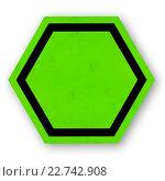 Шестигранный зеленый знак - шаблон. Стоковая иллюстрация, иллюстратор Евгений Ширинкин / Фотобанк Лори