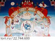 Купить «Temple of the Thousand Buddhas. Dashang Kagyu Ling congregation. Wheel of Samsara.», фото № 22744600, снято 21 октября 2018 г. (c) age Fotostock / Фотобанк Лори