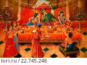 Купить «Painting in the London ISKCON hindu temple : Krishna with his brother Balaram and his father Nanda Maharaj», фото № 22745248, снято 19 апреля 2019 г. (c) age Fotostock / Фотобанк Лори