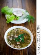 Купить «Овощной суп с колбасой на деревянном столе», фото № 22751784, снято 4 мая 2016 г. (c) Peredniankina / Фотобанк Лори