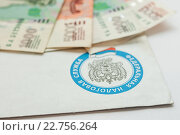 Купить «Конверт из федеральной налоговой службы и деньги», эксклюзивное фото № 22756264, снято 30 апреля 2016 г. (c) Игорь Низов / Фотобанк Лори