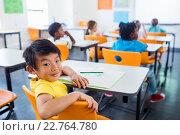 Купить «pupil sitting at his desk looking at camera in classroom», фото № 22764780, снято 6 марта 2016 г. (c) Wavebreak Media / Фотобанк Лори